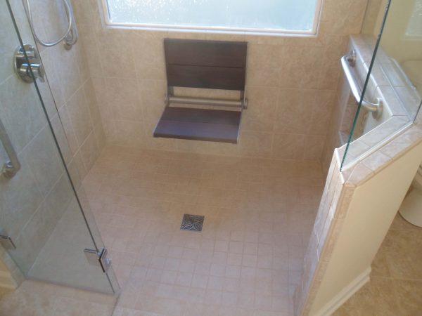 vinton virginia aging in place custom bathroom tile shower fold down bench