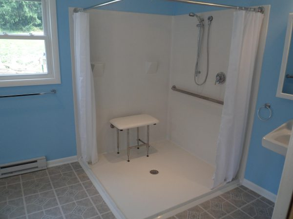 fiberglass curbless shower