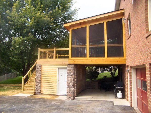 salem virginia custom screened porch deck rock columns stairs