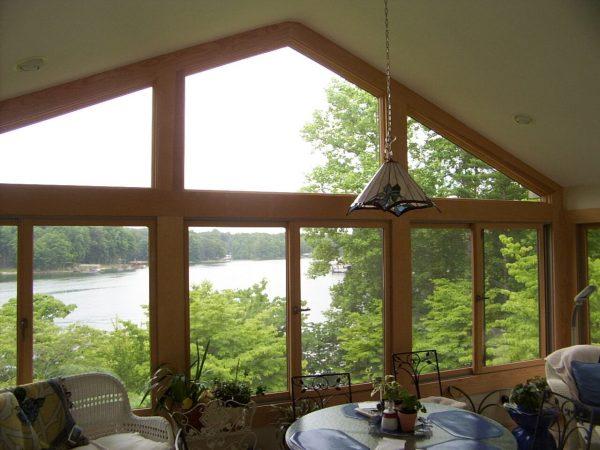 sunroom vaulted ceiling addition smith mountain lake, virginia