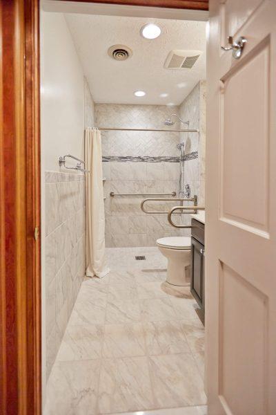 custom tile curbless shower aging in place grabbars wheelchair accessible bathroom floyd virginia