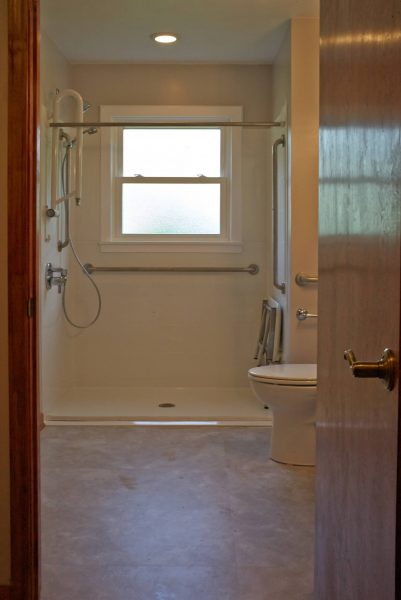custom curbless shower grab bars aging in place bathroom clifton forge virginia