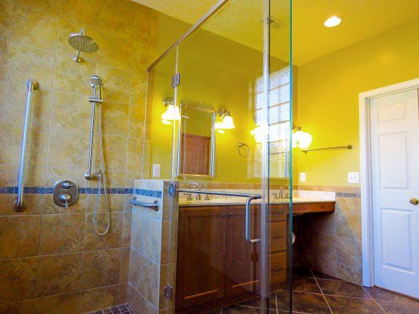 SAH veteran salem virginia bathroom aging in place roll under sink curbless shower custom tile