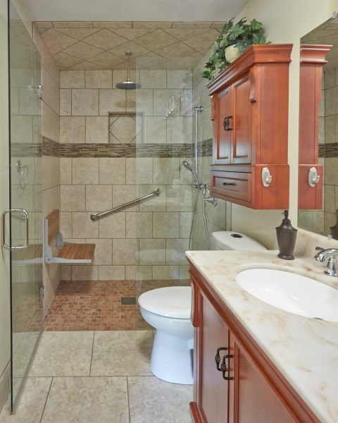 custom tile curbless shower wheelchair accessible wood fold down seat grab bars aging in place bathroom roanoke virginia