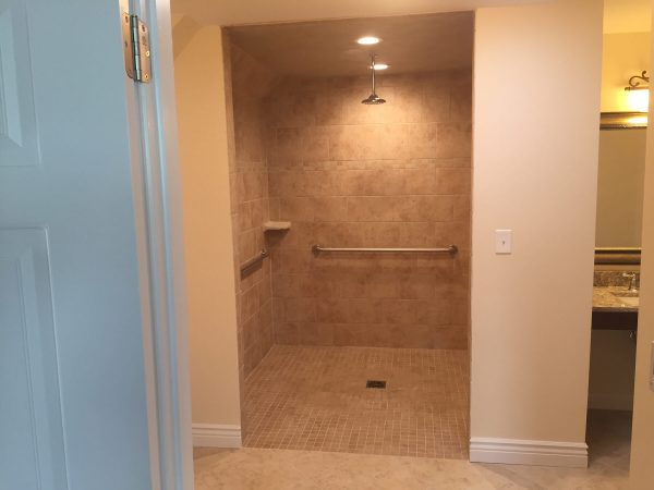 custom tile curbless shower aging in place floyd virginia