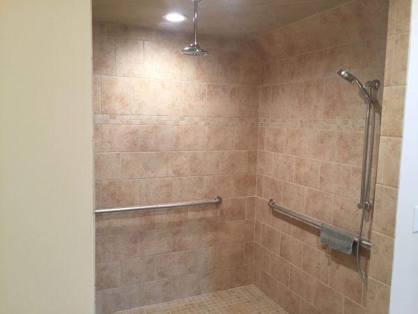 custom tile curbless shower grabbars aging in place floyd virginia