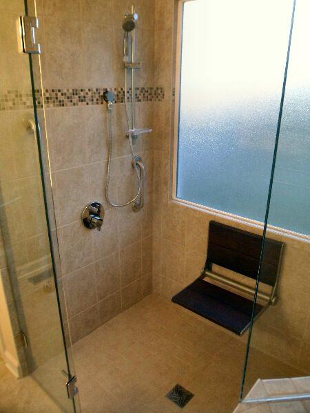 custom tiled curbless shower fold down wood shower seat vinton virginia